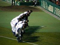 大会第 8日目 2回戦 3月29日 聖光学院高校 対 横浜高校 聖光学院高校選手応援席に感謝の挨拶